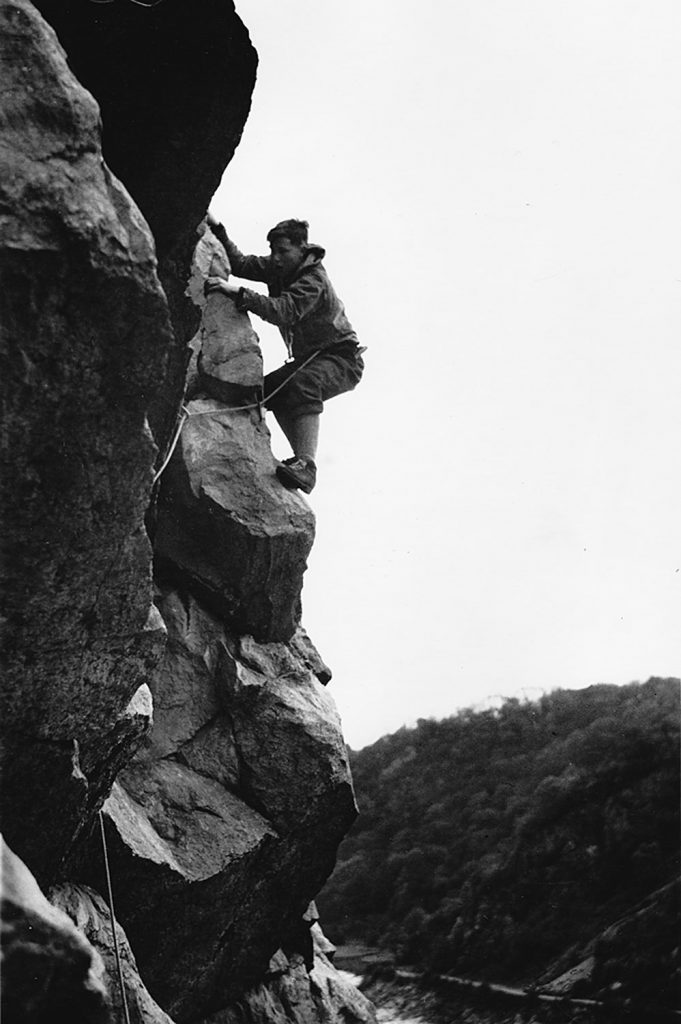 Chris Bonington climbing Great Central Route, Avon Gorge, 1955