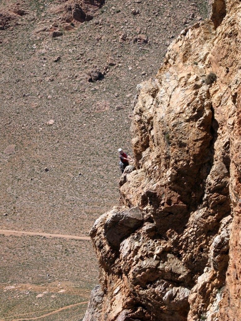Chris Bonington climbing in Morocco in his seventies