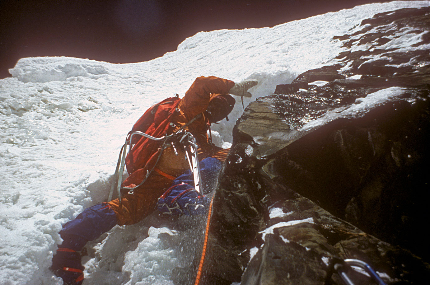 Chris Bonington leading on difficult stretch on Annapurna, 1970