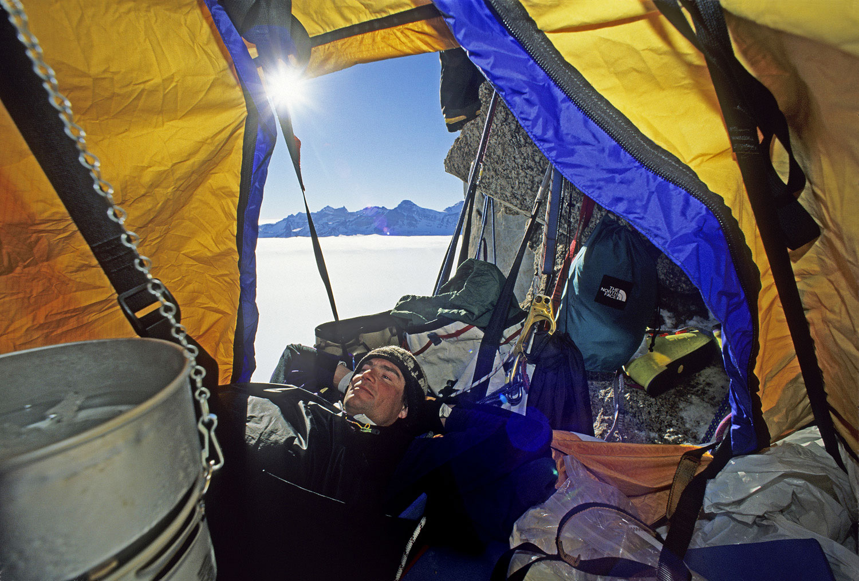 Alex Lowe, portaledge camp, Rakekniven spire, Filchner Mountains, Antarctica