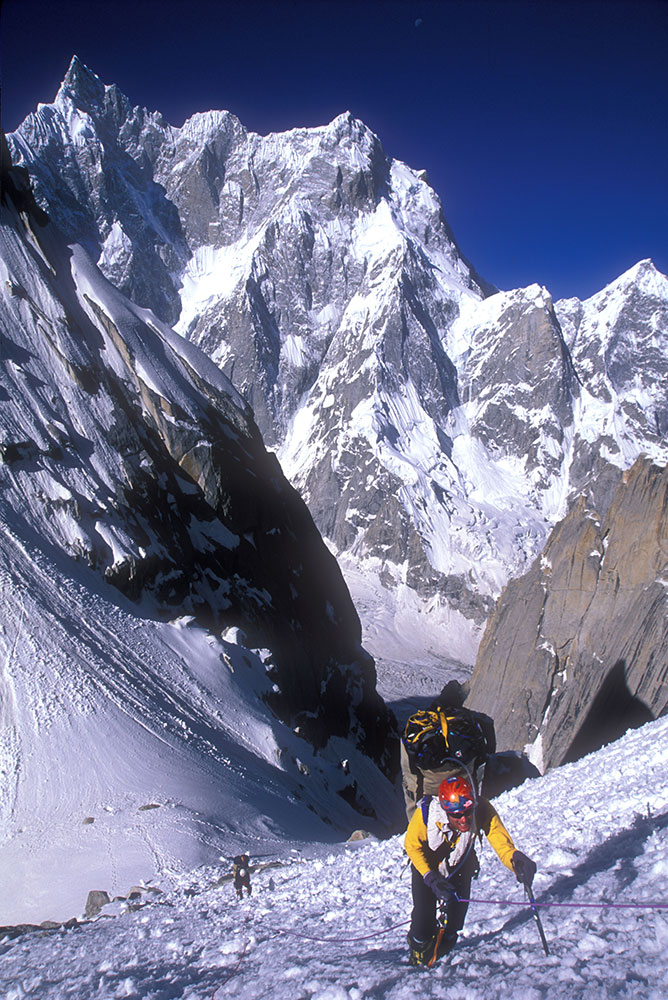 Conrad Anker climbing K7 Peak, Karakoram, Pakistan.