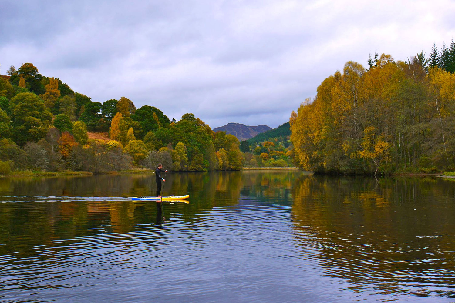 Standup paddleboarding on Loch Faskally