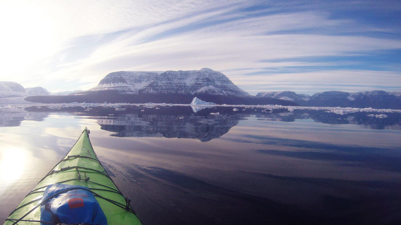 Acid green kayak, Greenland, Arctic