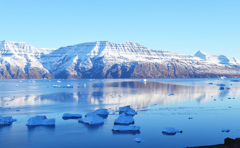 Cobalt blue ocean, Greenland