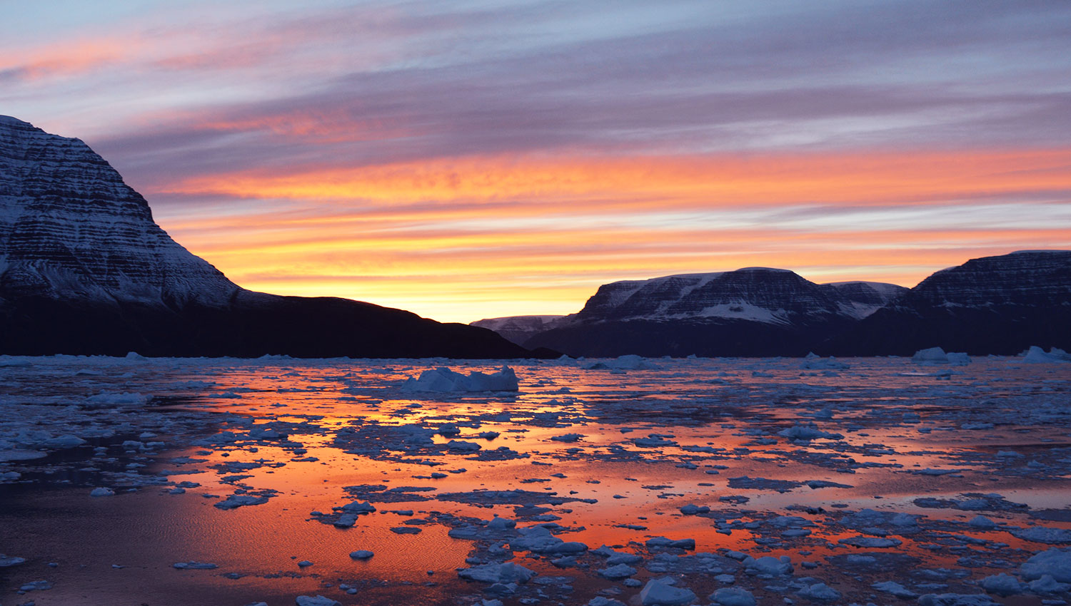 Greenland sunset, kayaking adventure