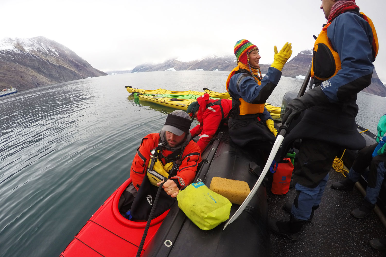 Kayaking Greenland, crew by dock