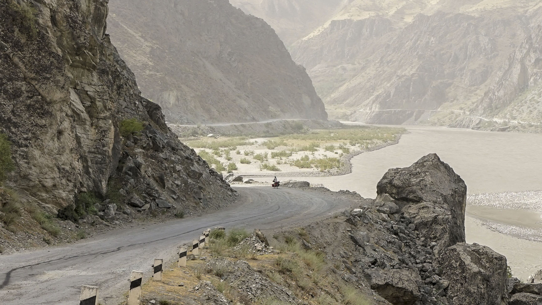 Ruth Newton cycling in Central Asia